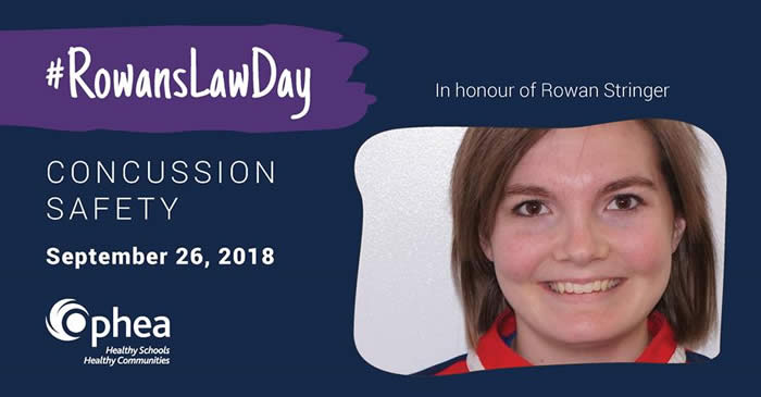 #RowansLawDay, Concussion Safety, September 26, 2018